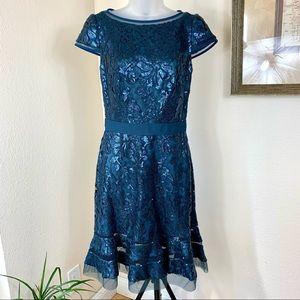 TADASHI SHOJI Cocktail Dress Sequin Lace Blue MIDI